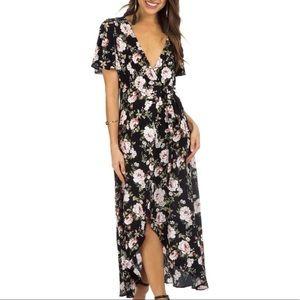 Show Me Your Mumu Marianne Black Floral Wrap Dress